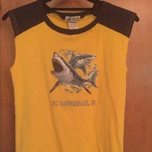Kids shark t-shirt Fort Lauderdale blue & yellow